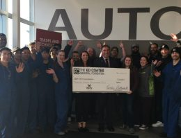 Scholarship Cheque presentation at KPU Trades